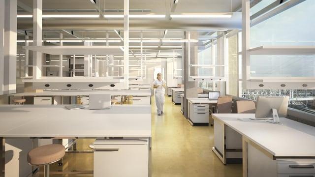 Visualisierung Innenraum des geplanten Neubaus.