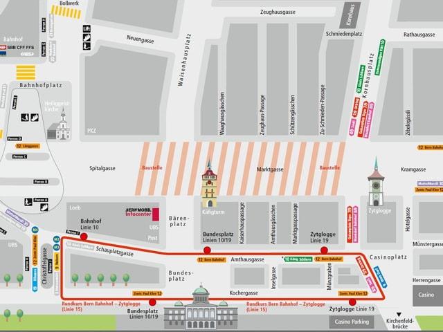 Situationsplan der verschiedenen Tram- und Buslinien während der Sanierung.