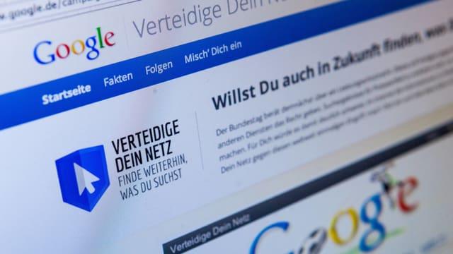 Der Screenshot einer Google-Seite, auf der sich das Unternehmen gegen das Leistungsschutzrecht ausspricht.