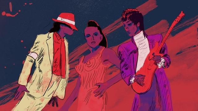 Illustration: Ein Mann mit Hut und schräger Pose, eine Frau in engem Kostüm, ein Mann mit Gitarre und lila Anzug.
