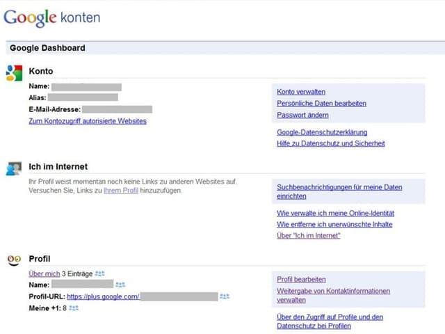 Dashboard von Google.