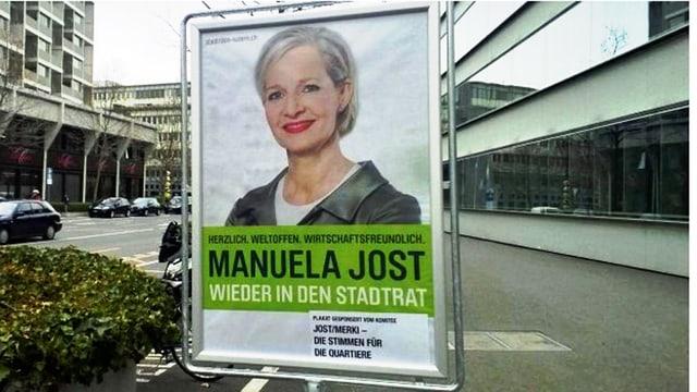 Ein Wahlplakat, darauf eine blonde Frau.
