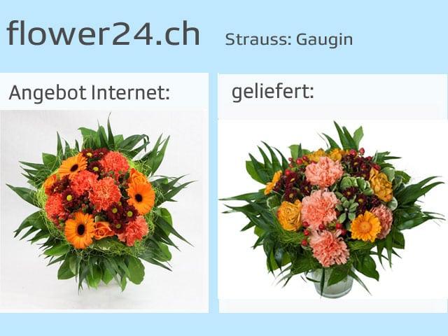 Vergleich Blumensträusse Angebot und tatsächliche LIeferung.