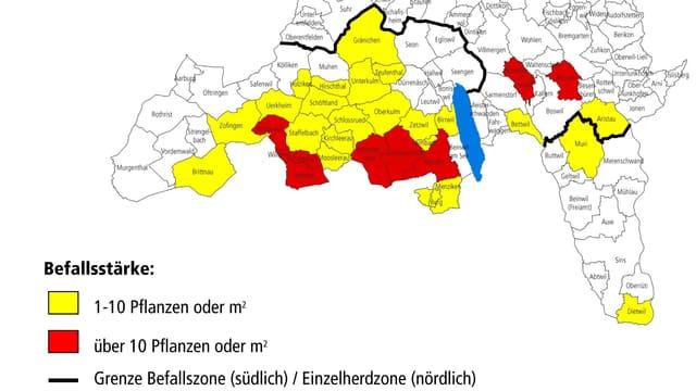 Aktuelle Befallskarte des Kantons Aargau.