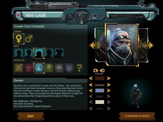 Charakter-Erstellung in Shadowrun: Hong Kong.