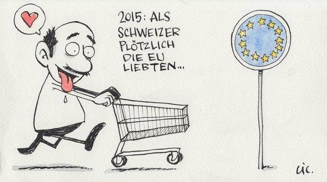 Mann hechelt mit Einkaufswagen in Richtung EU
