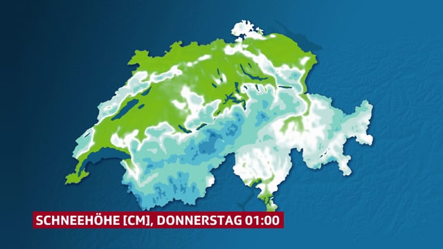 Eine Animation zeigt den Schneehöhenzuwachs in den nächsten Tagen.