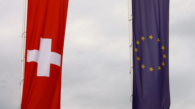 Purtret da duas bandieras, ina da l'UE ed ina Svizra.