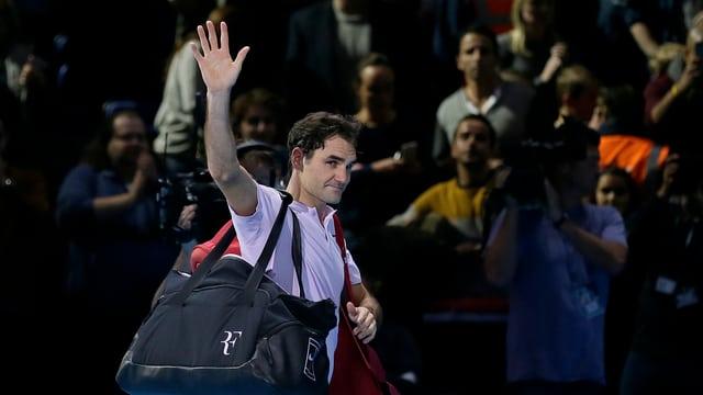 Roger Federer an einem Tennisturnier.
