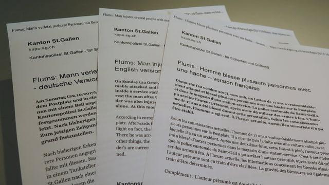 Medienmitteilung der St. Galler Kantonspolizei in drei Sprachen.