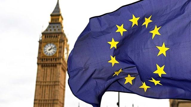 EU-Fahne neben Turm