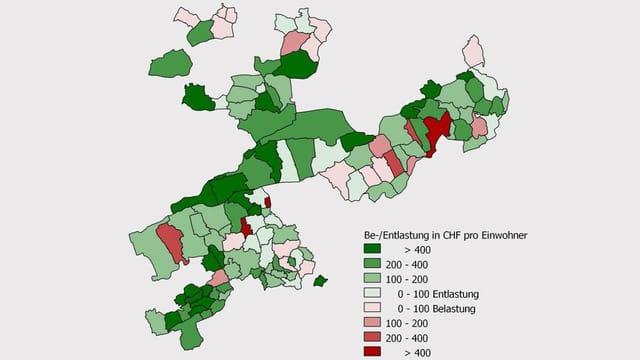 Karte des Solothurner Finanzausgleichs.
