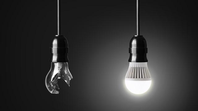 Herkömmliche Glühbirne und LED-Lampe