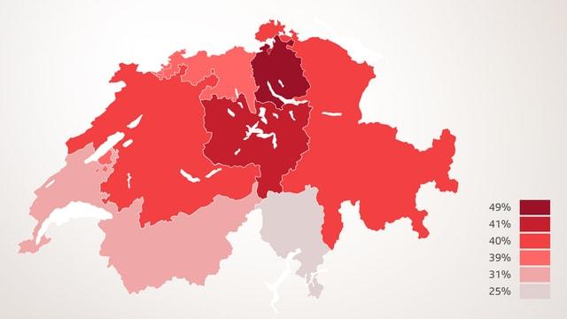 Schweizer Karte mit eingefärbten Regionen.