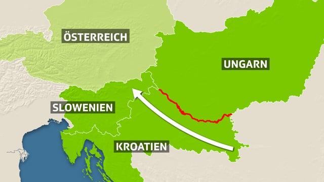 Karte mit Österreich, Slowenien, Kroatien und Ungarn.