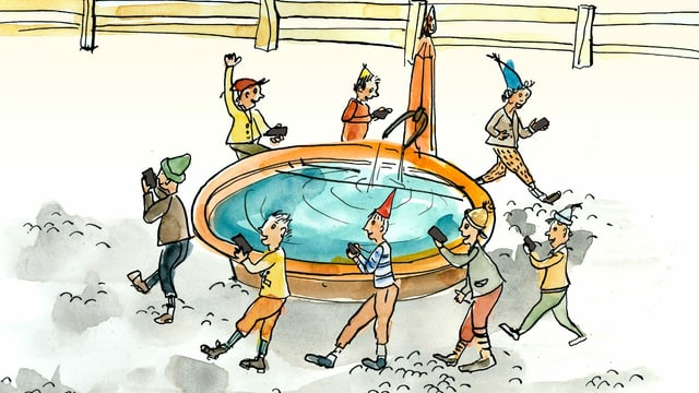 Kinder gehen um einem Brunnen.