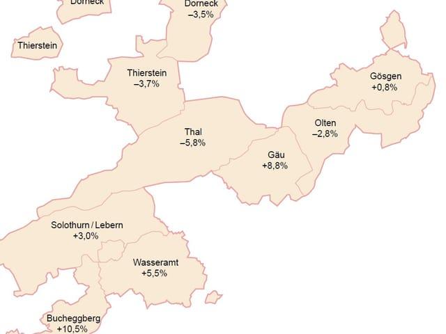 Eine Grafik der Bezirke im Kanton Solothurn