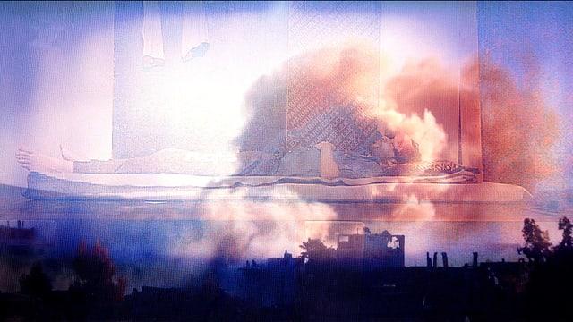 Mehrere Bilder blenden in einander: Ein Mann auf einer Liege, ein Haus und eine zerstörte Stadt mit Rauchwolken.