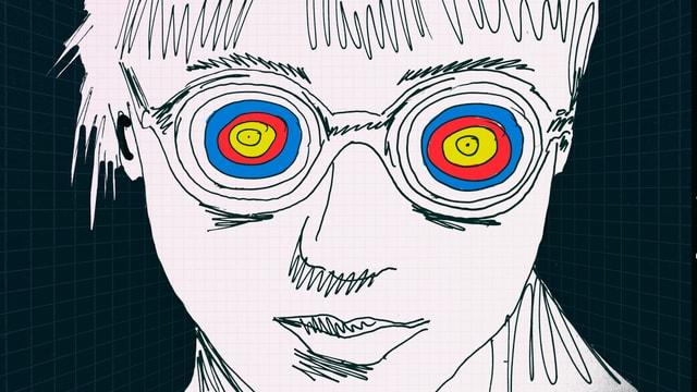 Person mit Brille, deren Gläser Zielscheiben sind