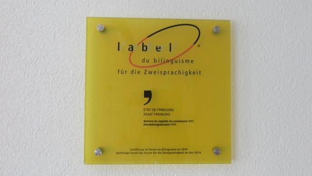 Schild Label für Zweisprachigkeit