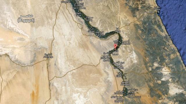 Kartenausschnitt von Luxor und Ägypten