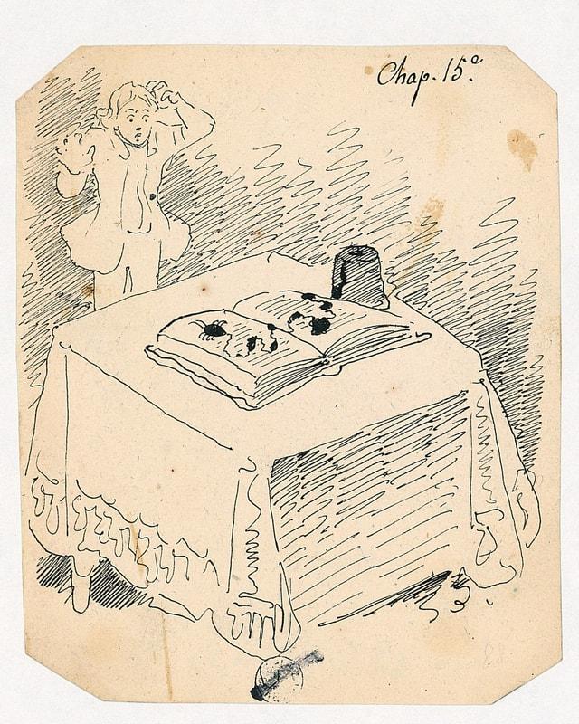 Eine Zeichnung: Auf dem Tisch ein Buch, daneben ein erschrockener Mann.