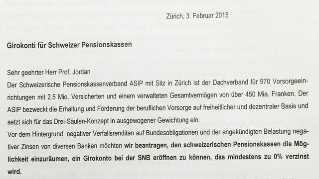 Ausschnitt aus dem Brief an die Nationalbank.