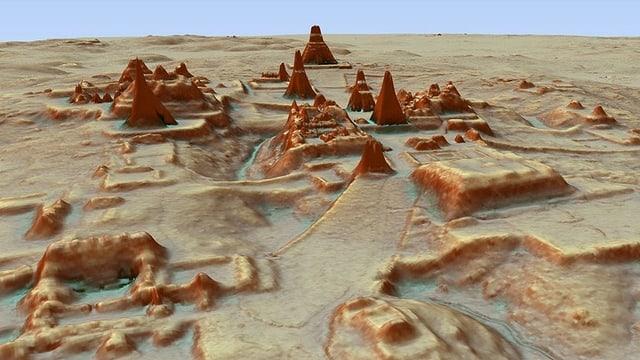 Eine Karte, die Maya-Bauten zeigt.