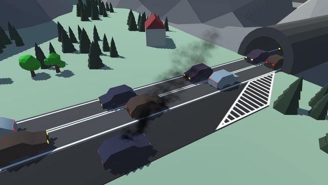 Spielgrafik: Ein Auto steht auf dem Pannenstreifen vor einem Autobahntunnel.