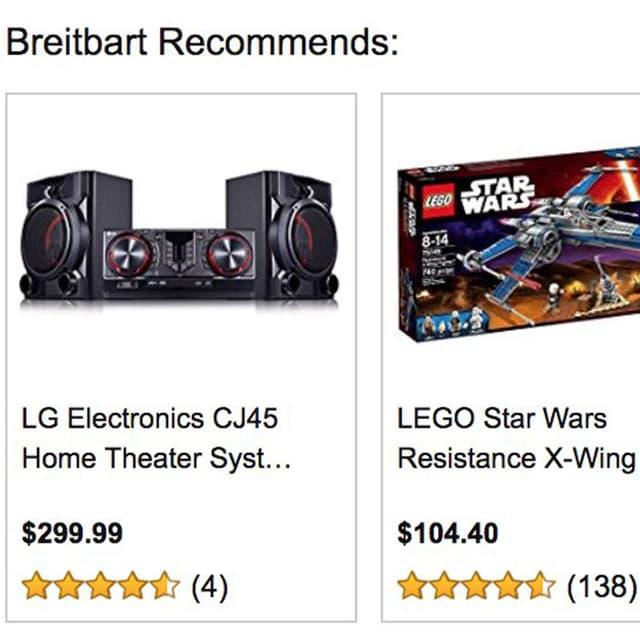 Screenshot von Breitbart.com mit zwei Amazon Inseraten: Lego und ein Home Theater System von LG