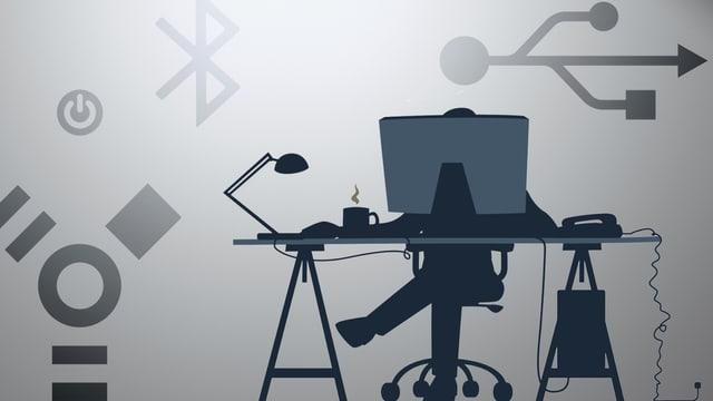 Frau sitzt am Arbeitsstisch hinter Computer, umrundet von Ikonen.