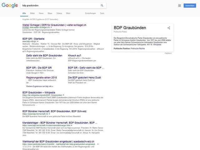 screenshot dals resultats da google tar la tschertga da «bdp graubünden»
