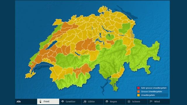 Die Karte zeigt Regionen mit Gefahr von Boden- oder Luftfrost. Besonders im Jura, in den Voralpentälern und in Teilen der Romandie besteht die Gefahr von Frost.