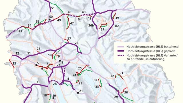 Ausschnitt aus der Karte des Verkehrsrichtplanes mit den eingezeichnete Hauptverkehrsachsen
