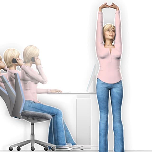Zeichnung einer Frau, die sich neben Ihrem Arbeitsplatz streckt.