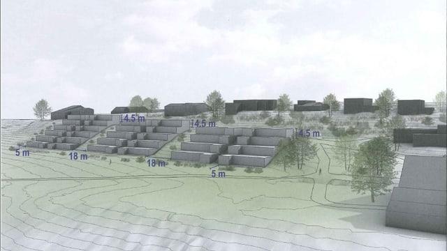 Modell einer Wohnüberbauung im Gebiet Rebberg