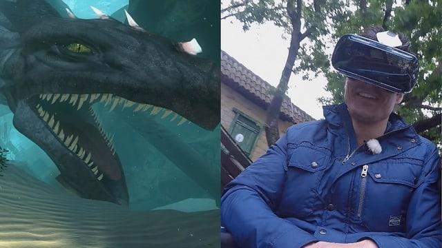 Zweigeteiltes Bild: Links ein Fantasiedrache, rechts Tobias Müller mit Virtual-Reality-Brille