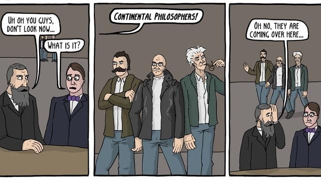 Ein Comic, der Philosophen in einer Bar zeigt.