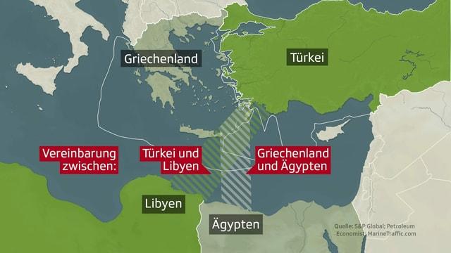 Grafik mit den Ansprüchen und Abkommen der Türkei und Griechenland über ihre Gebietsansprüche.