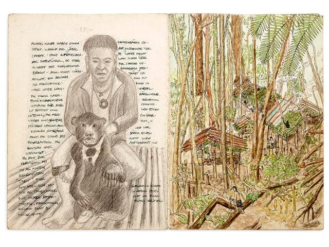 2 Seiten eines Tagebuchs mit Skizzen und Text. Zu sehen ist ein Mensch mit einem Affen und Hütten aus Bambus.