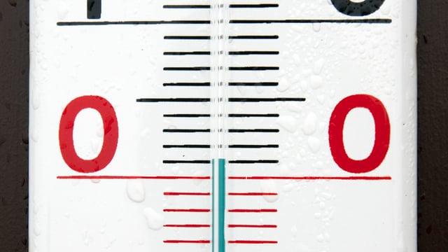 Ein Thermometer, das 1 Grad anzeigt.