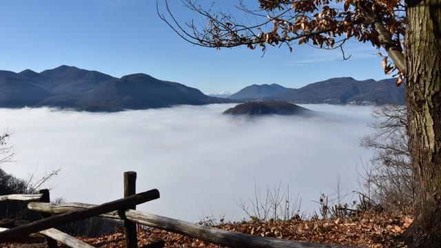 Blick auf das Nebelmeer über dem Luganersee, Der Monte di Caslano ragt als Insel aus dem Nebelmeer.