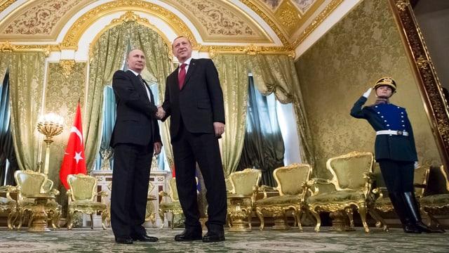 Putin und Erdogan schütteln sich die Hände.