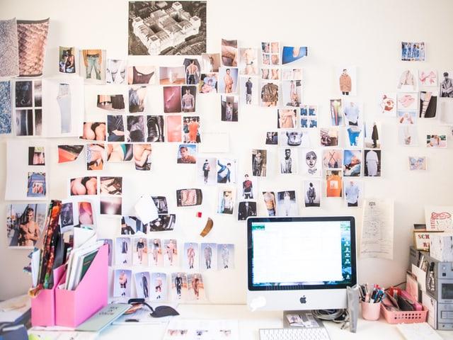 Bei Julian Zigerli hat alles seinen Platz., Inspirationen und Ideen hängen im Atelier an den Wänden.