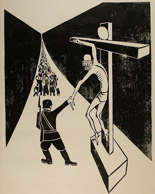Nazis zieht Jesus bei der Hand