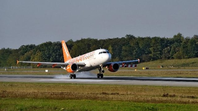 Landendes Flugzeug auf dem EuroAirport