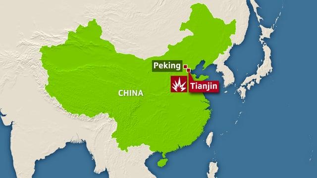 Karte Chinas - Tianjin  undx Peking sind gekennzeichnet