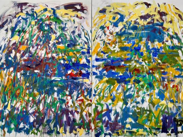 Ein bundes, wirres Gemälde von Joan Mitchell namens «Rivière».