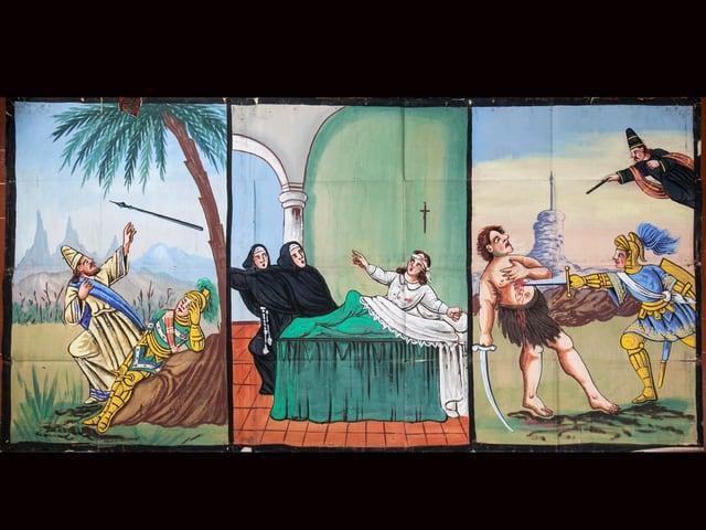 dreigeteiltes Bild, Zauberer, Mönche, Messerstecher
