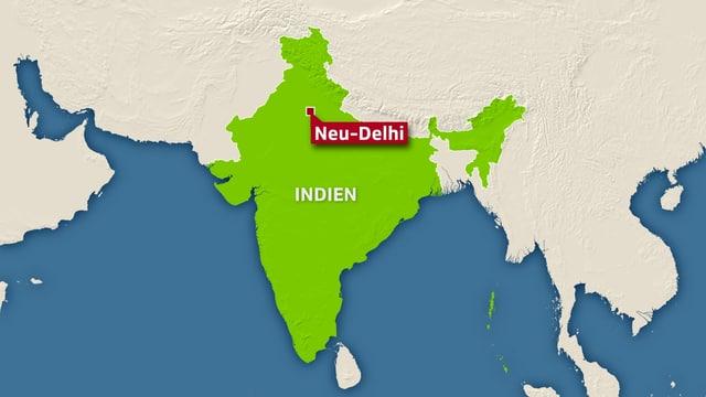 Karte von Indien mit Neu-Delhi